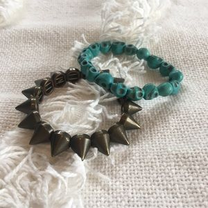 Urban Outfitters Jewelry - Edgy skull & spike bracelet set